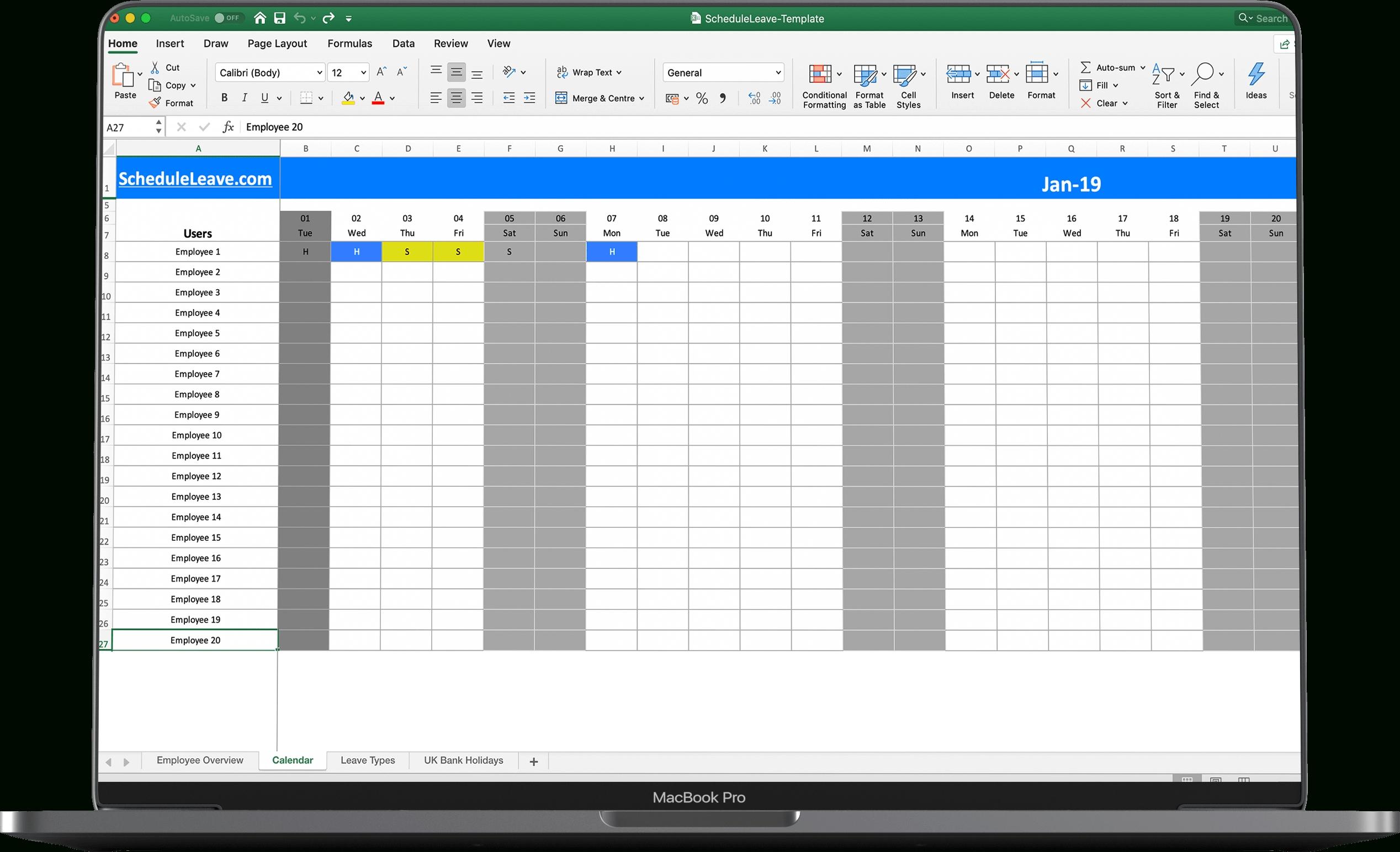 Free Excel Leave Calendar 2020 Spreadsheet Template