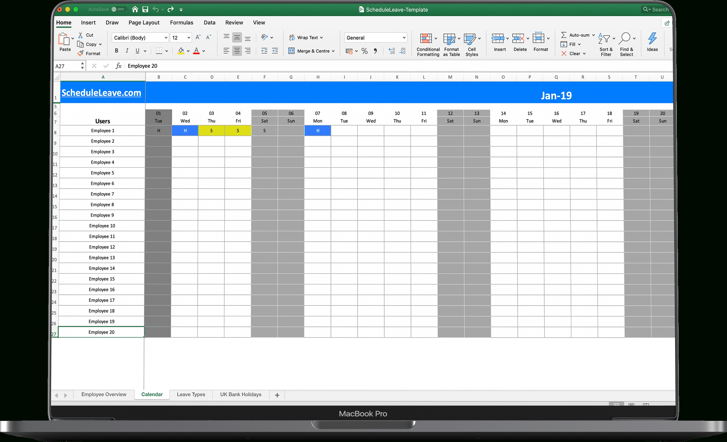 Free Excel Leave Calendar 2020 Spreadsheet Template