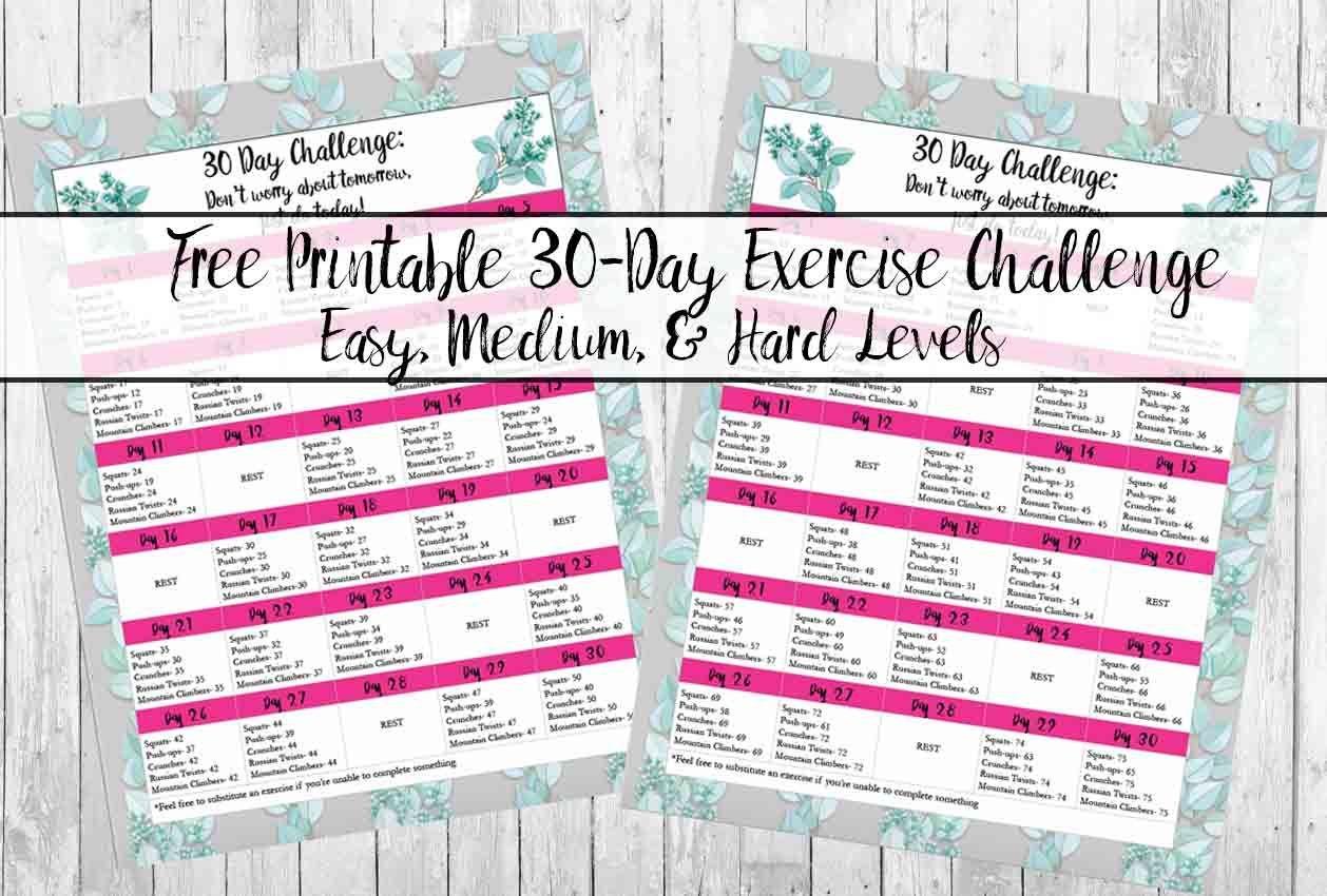 Free Exercise Printable 30-Day Challenge: Easy, Medium