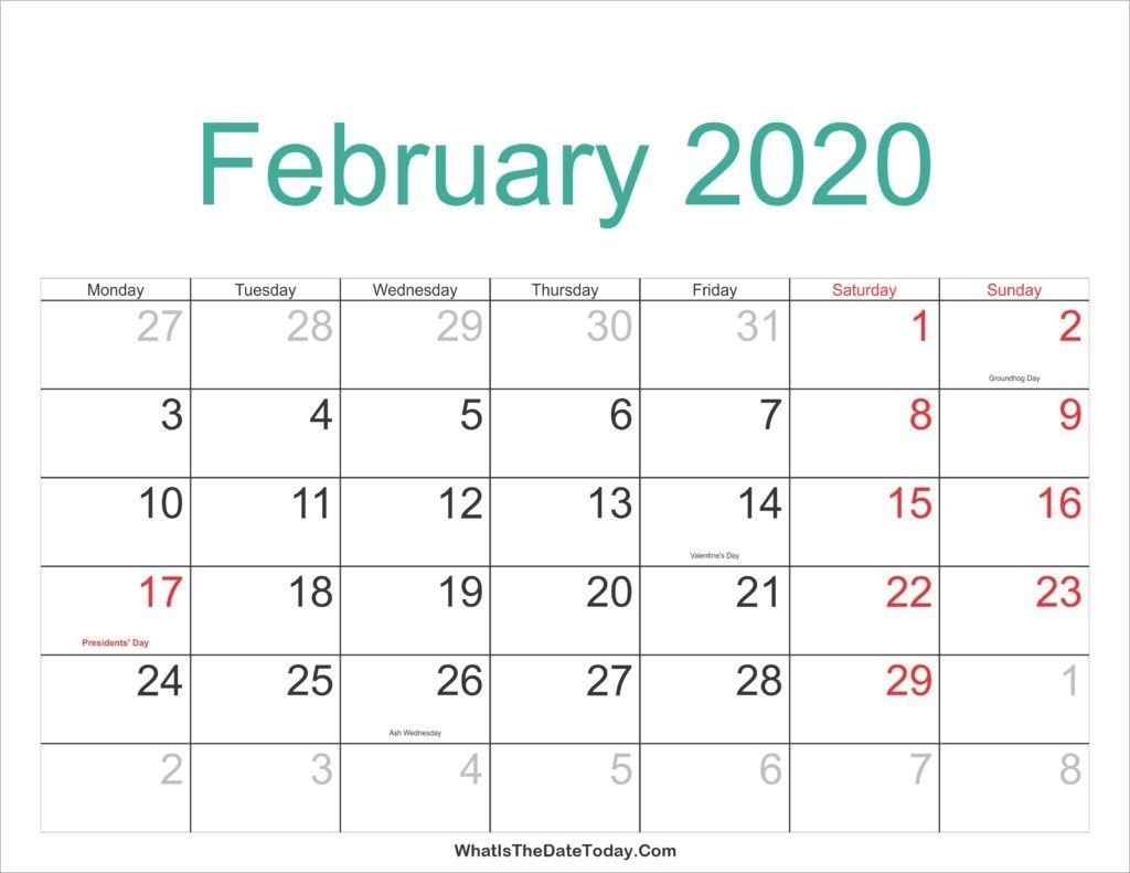 Free February 2020 Printable Calendar - Print Your Calendar