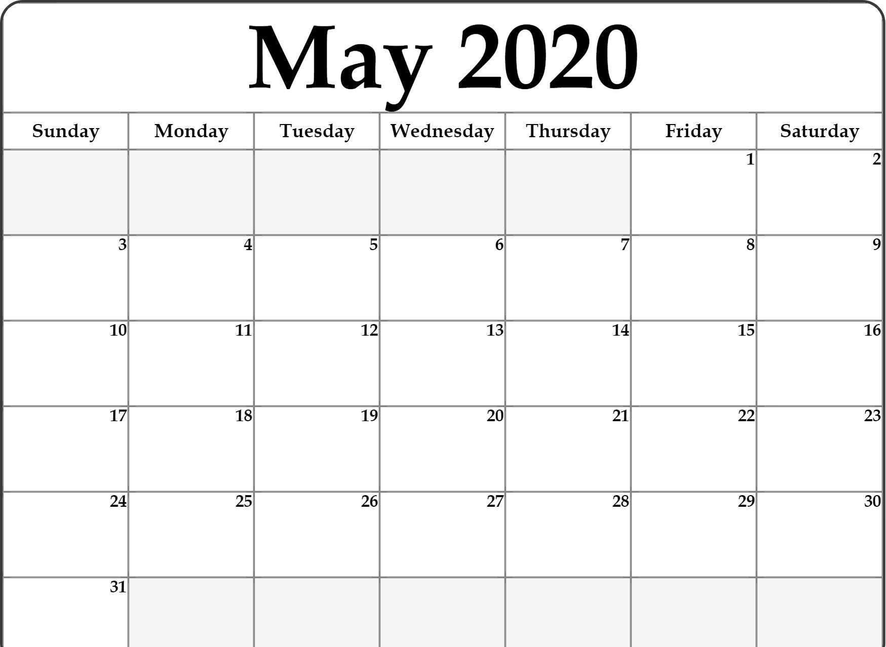 Free Fillable May 2020 Calendar Template Printable Pdf Word