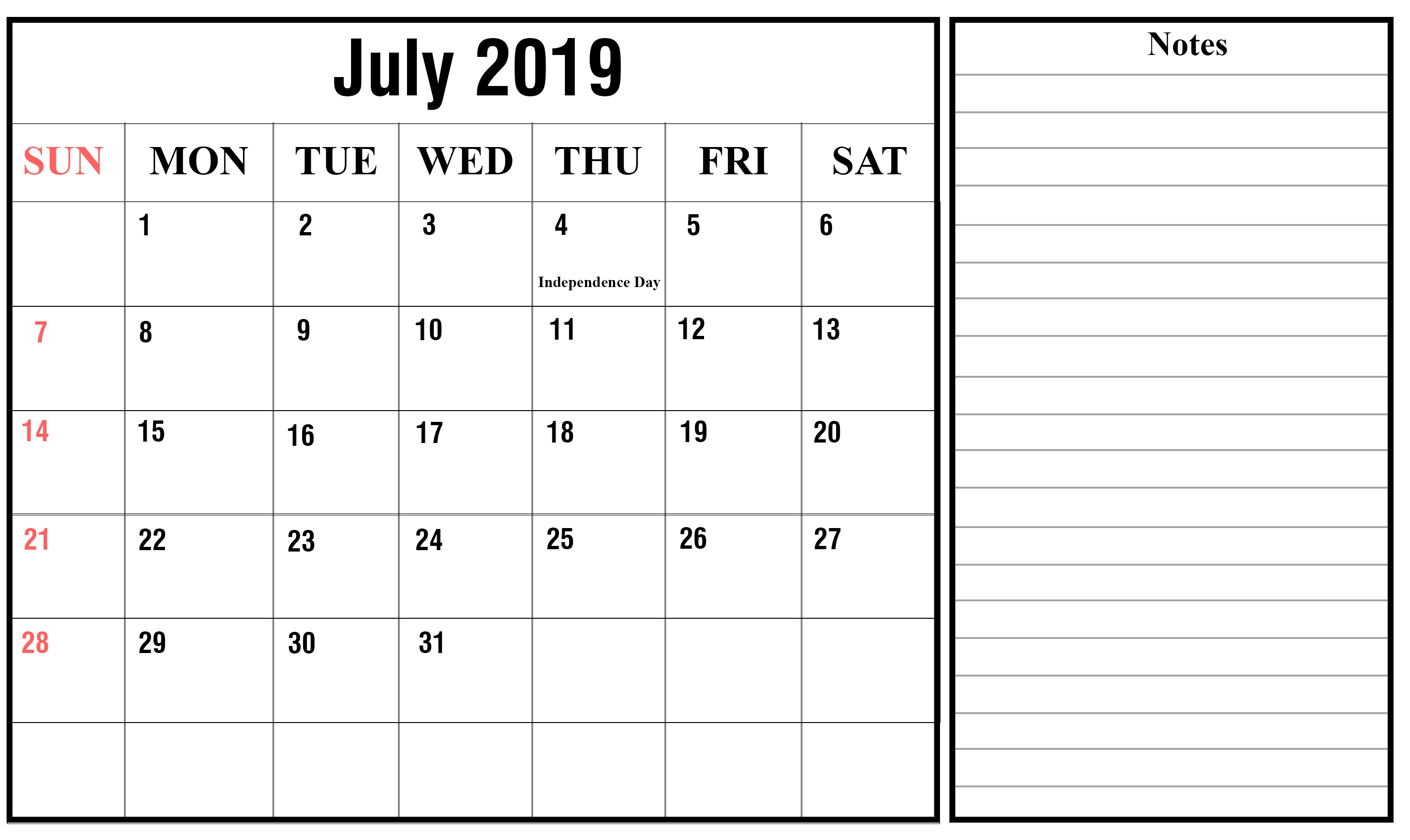 Free July 2019 Calendar Printable Templates Download