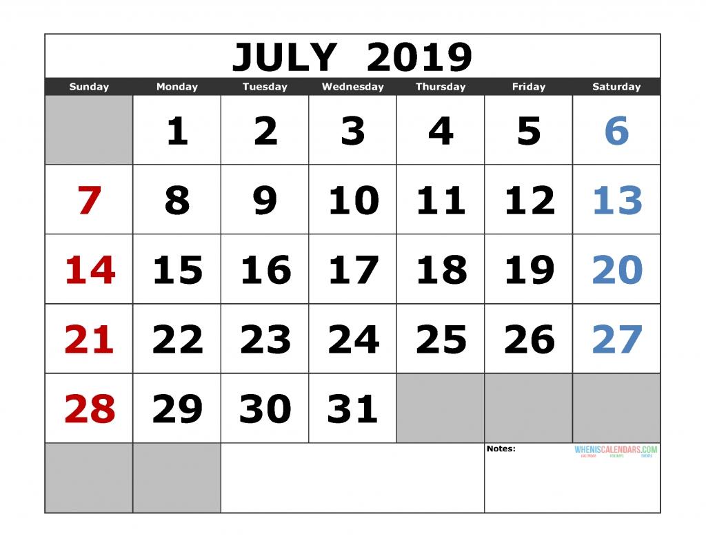 Free July 2019 Printable Calendar Templates [Us. Edition