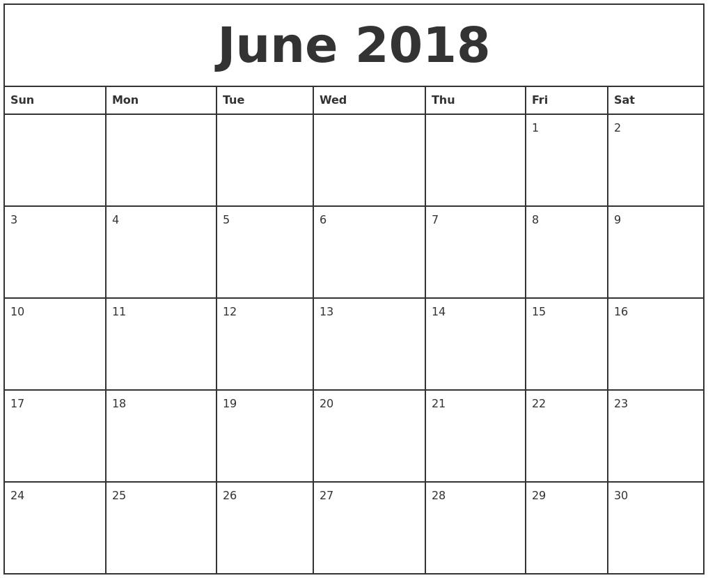 Free June 2018 Calendar Printable Blank Templates - Word Pdf