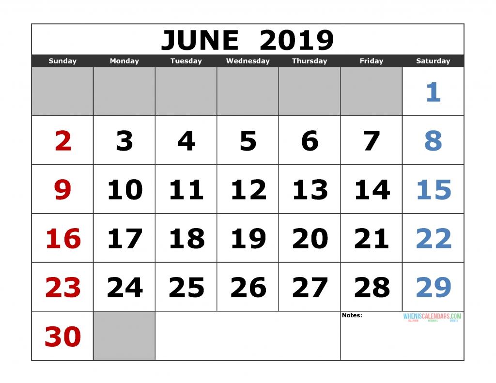 Free June 2019 Printable Calendar Templates [Us. Edition