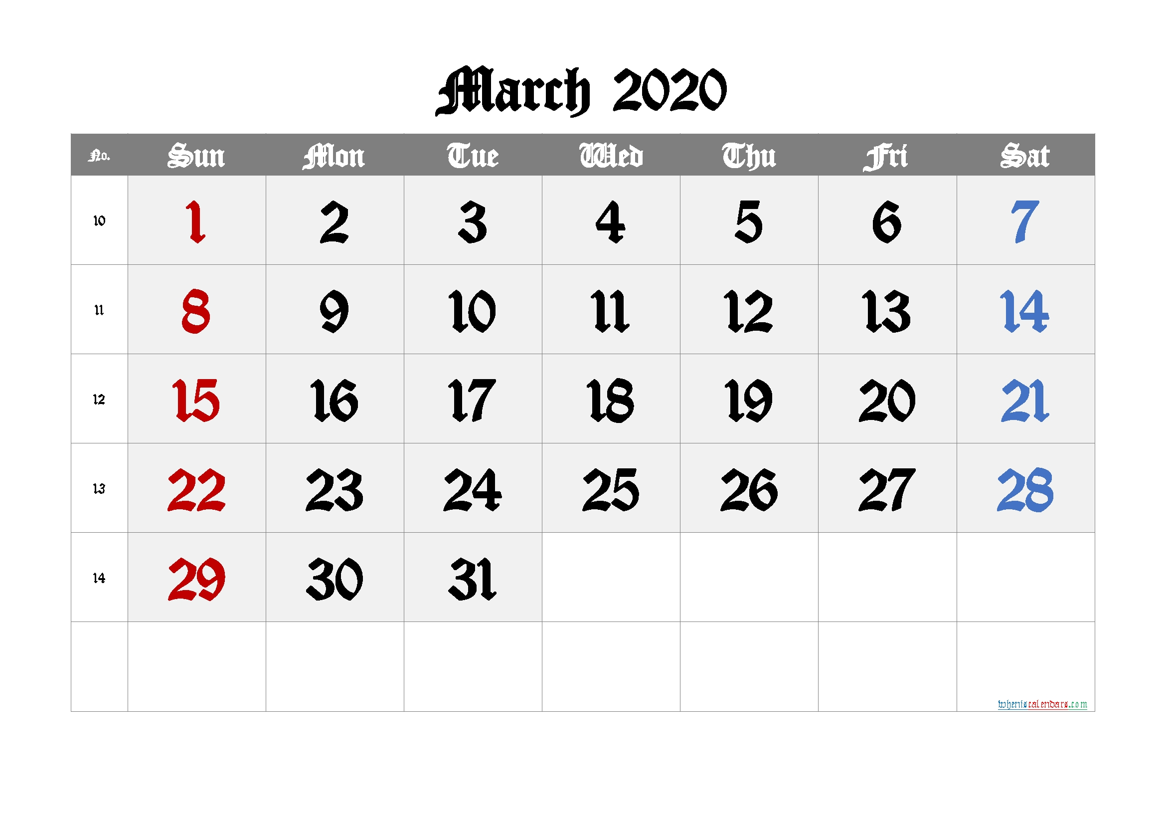 Free March 2020 Calendar - 6 Templates | Free Printable 2020