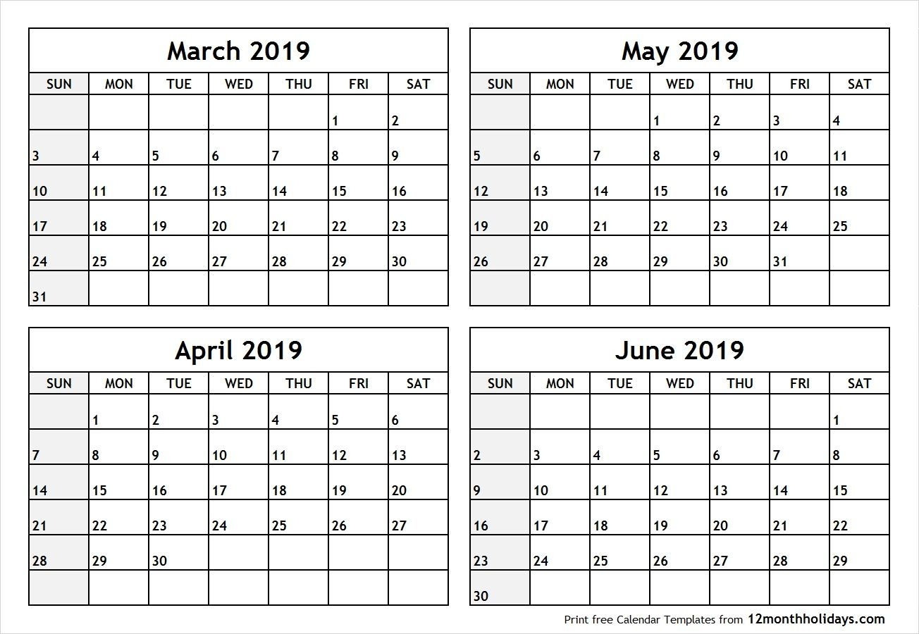 Free March April May 2020 Calendar Printable Templates