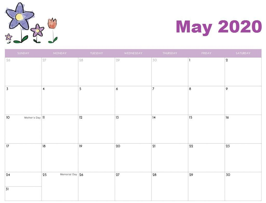 Free May 2020 Calendar – Download Cute Templates | Free