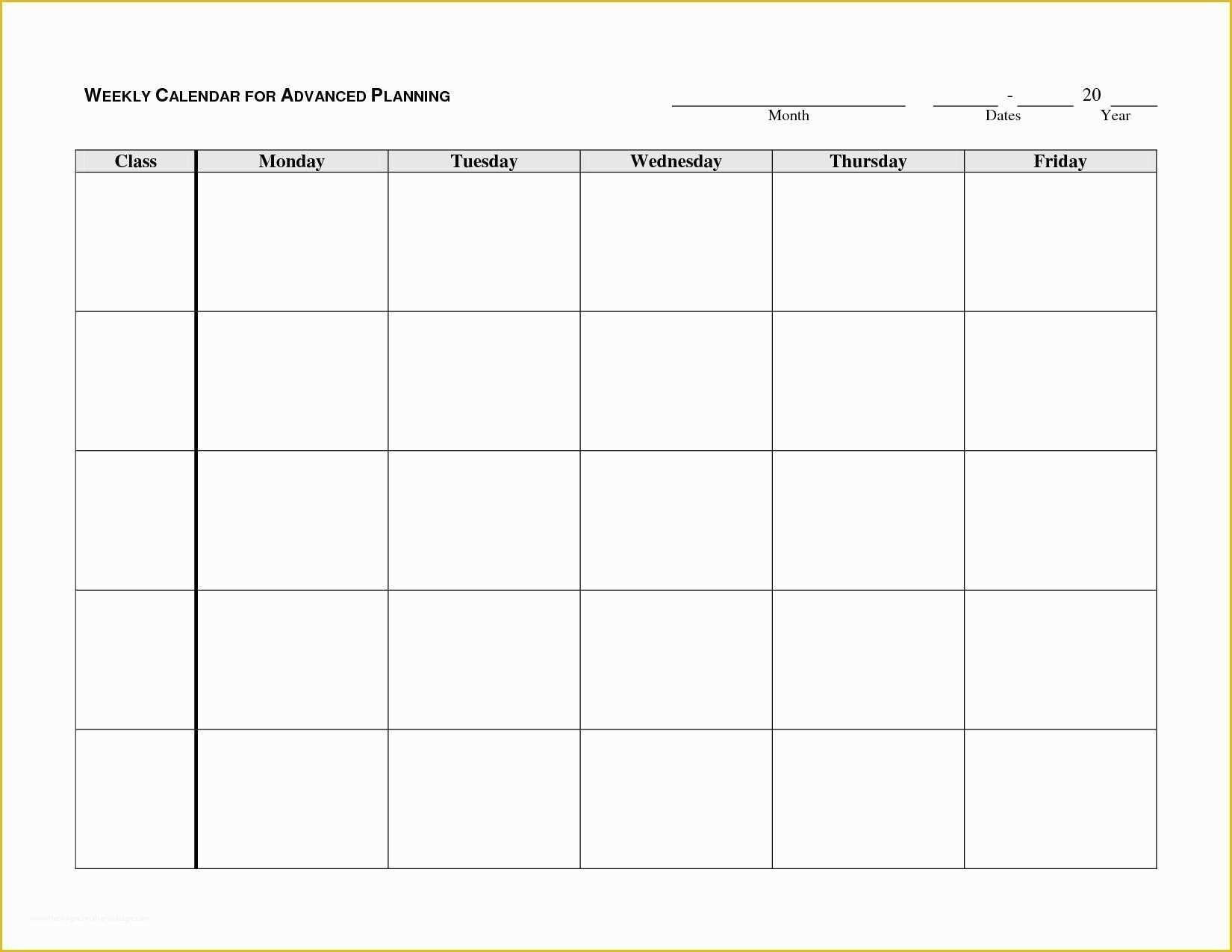 Free Monday Through Friday Calendar Template Of Calendar