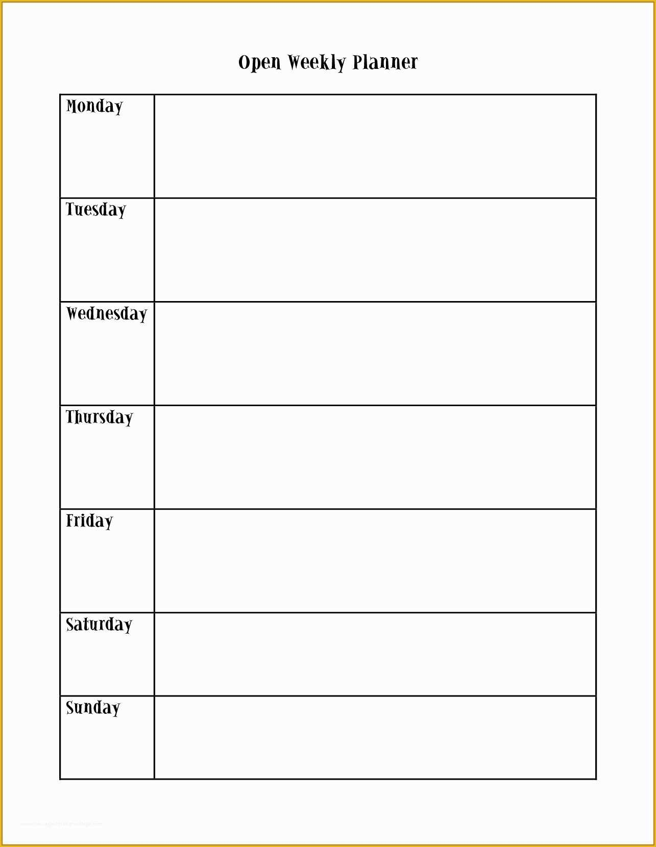 Free Monday Through Friday Calendar Template Of Calendar