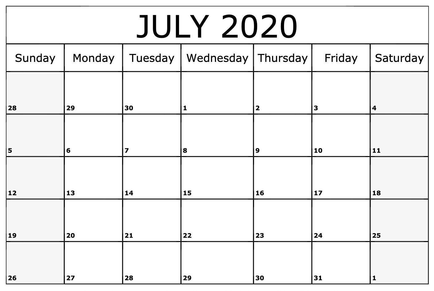 Free Monthly Printable July Calendar 2020 With Blank