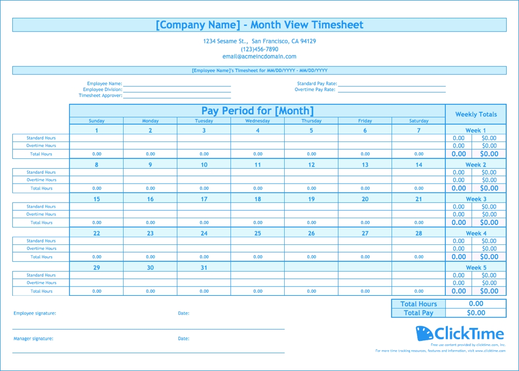 Free Monthly Timesheet Template | Clicktime