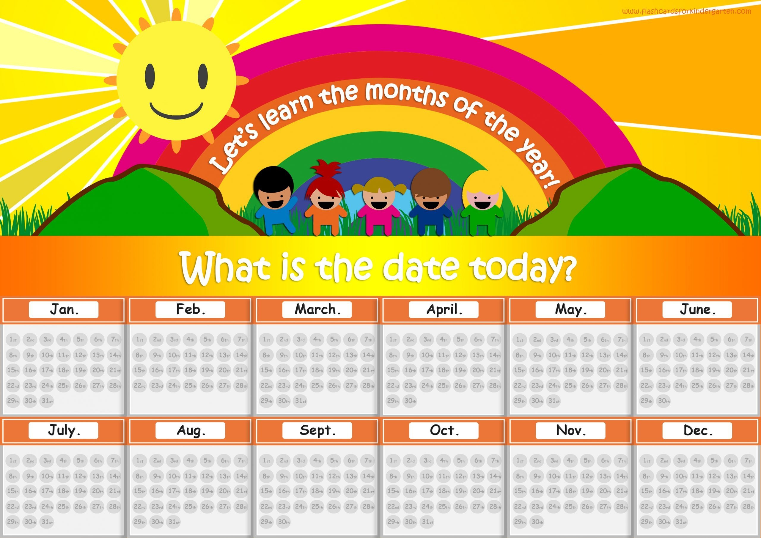 Free Months Of The Year Flashcards - Perfect For Kindergarten!