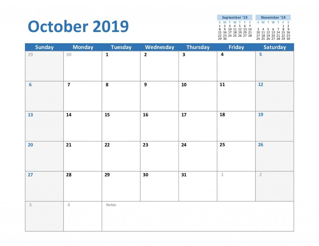 Free October 2019 Printable Calendar Template In Pdf, Excel