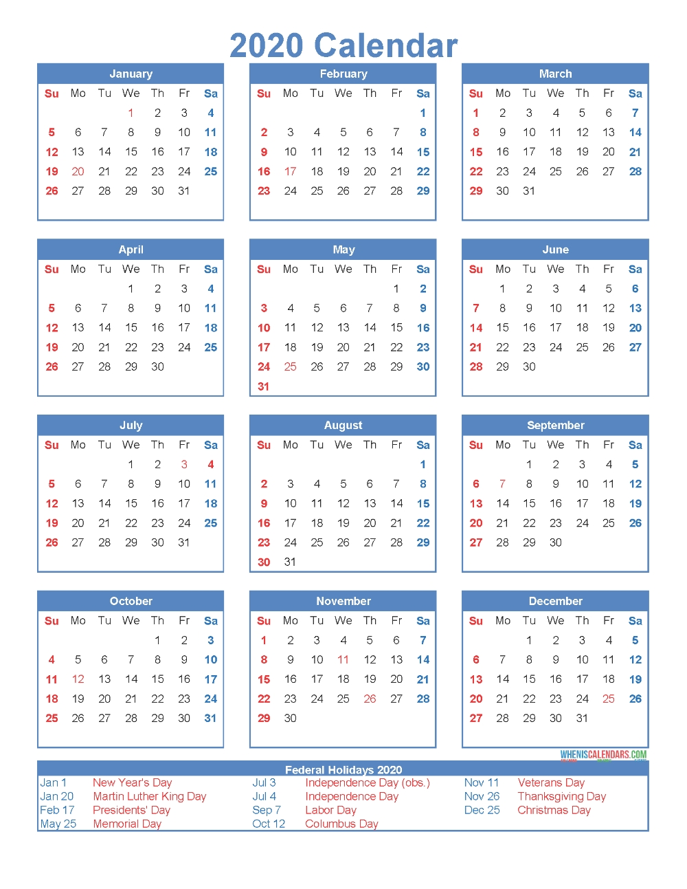 Free Printable 12 Month Calendar 2020 With Holidays (With