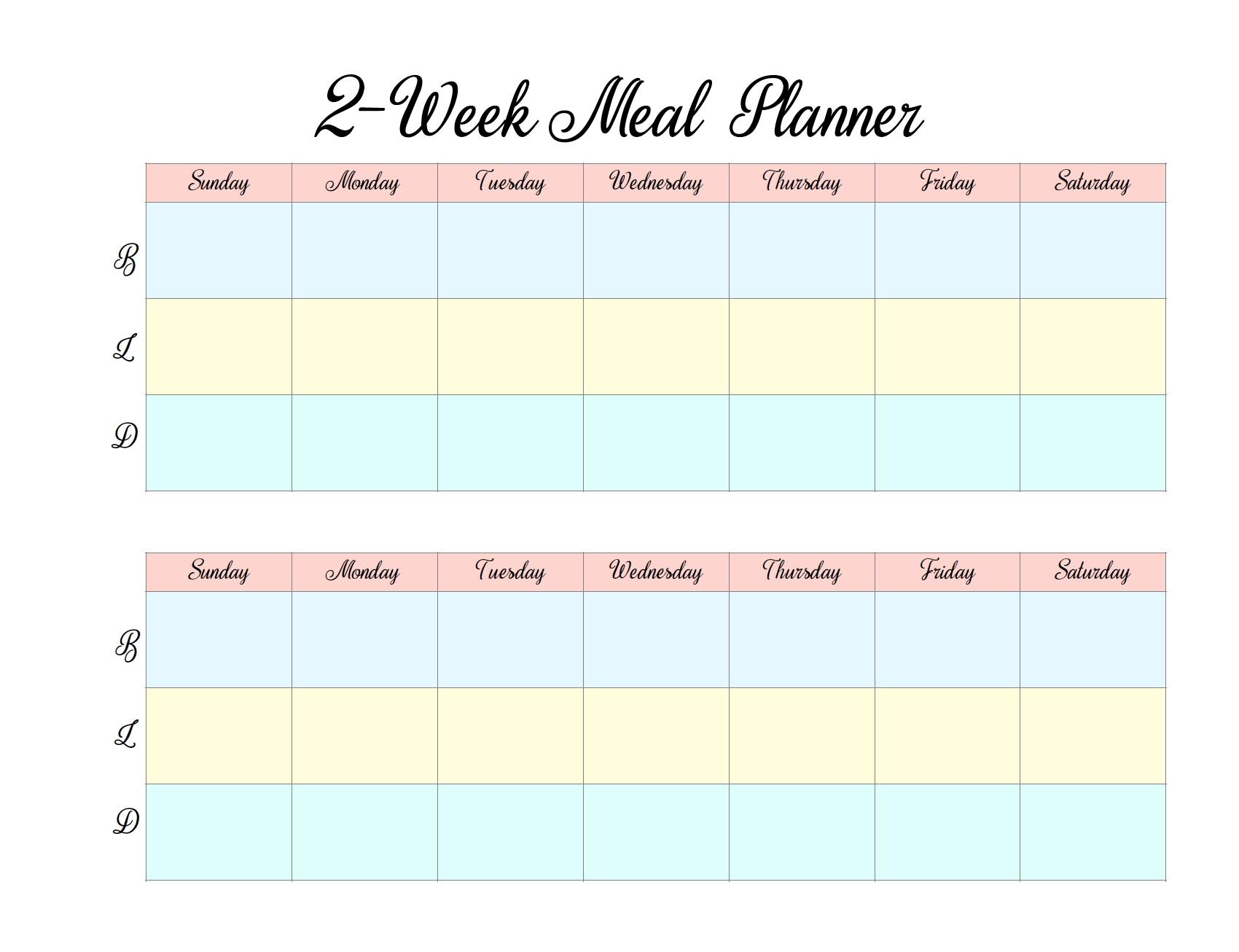 Free Printable 2-Week Meal Planners: 4 Designs