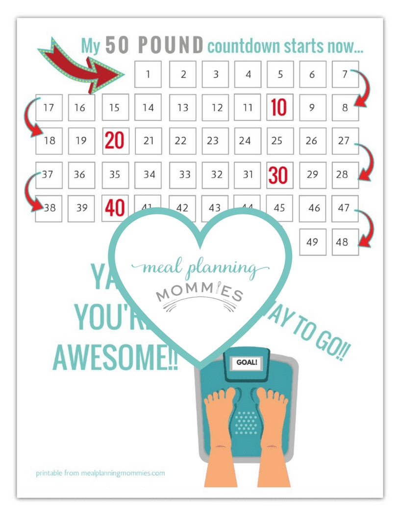 Free Printable 20-100 Pound Weight Loss Trackers - Meal