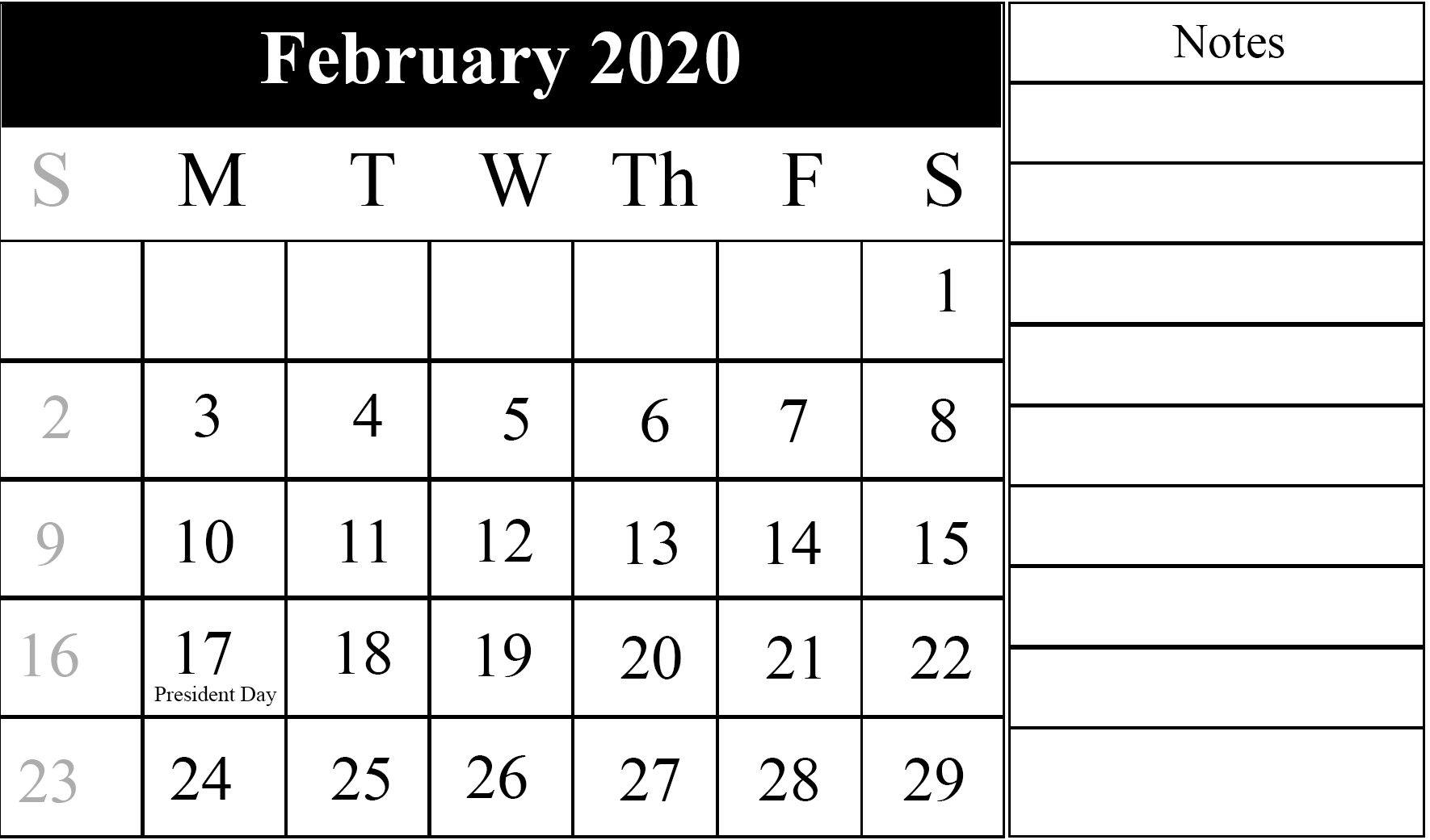 Free Printable 2020 Blank February Calendar Monthly Templates