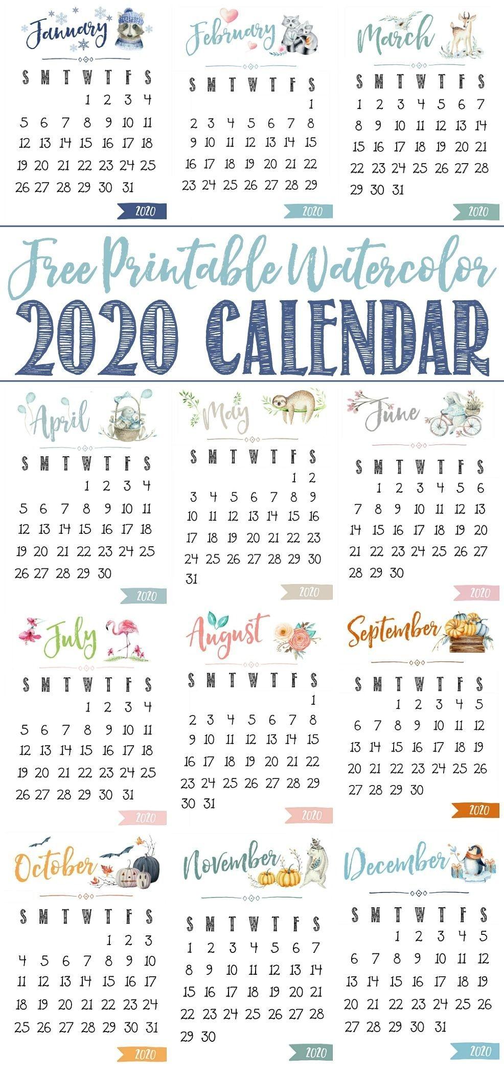 Free Printable 2020 Calendar   Free Printable Calendar