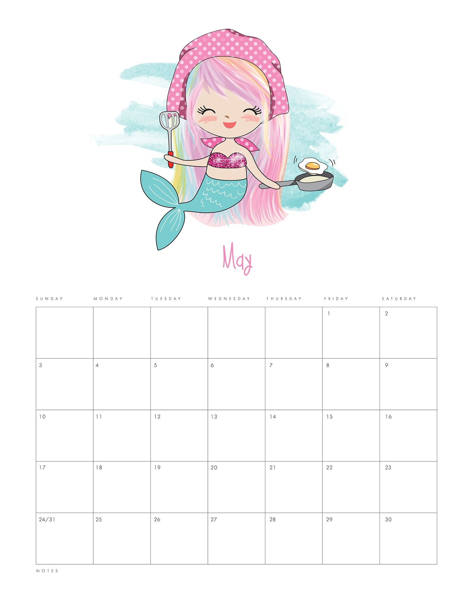 Free Printable 2020 Kawaii Mermaid Calendar - The Cottage Market