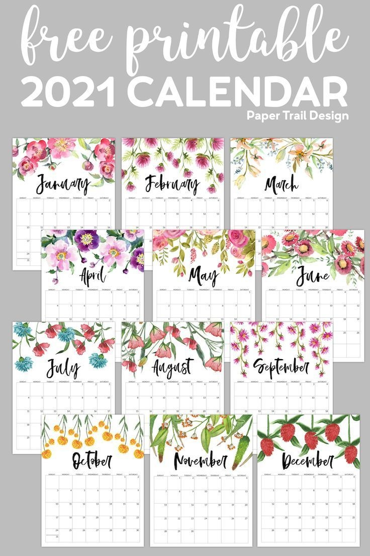 Free Printable 2021 Floral Calendar In 2020 (With Images