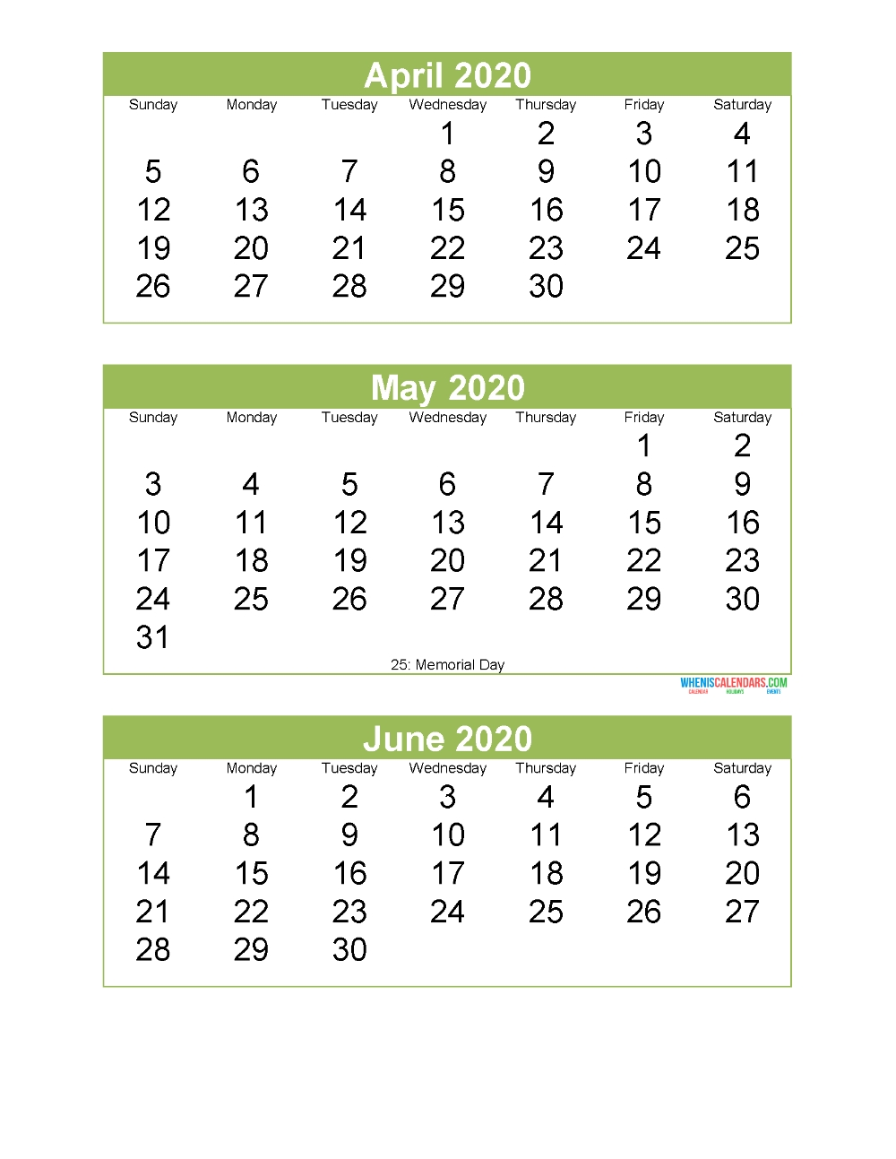 Free Printable 3 Month Calendar 2020 April May June