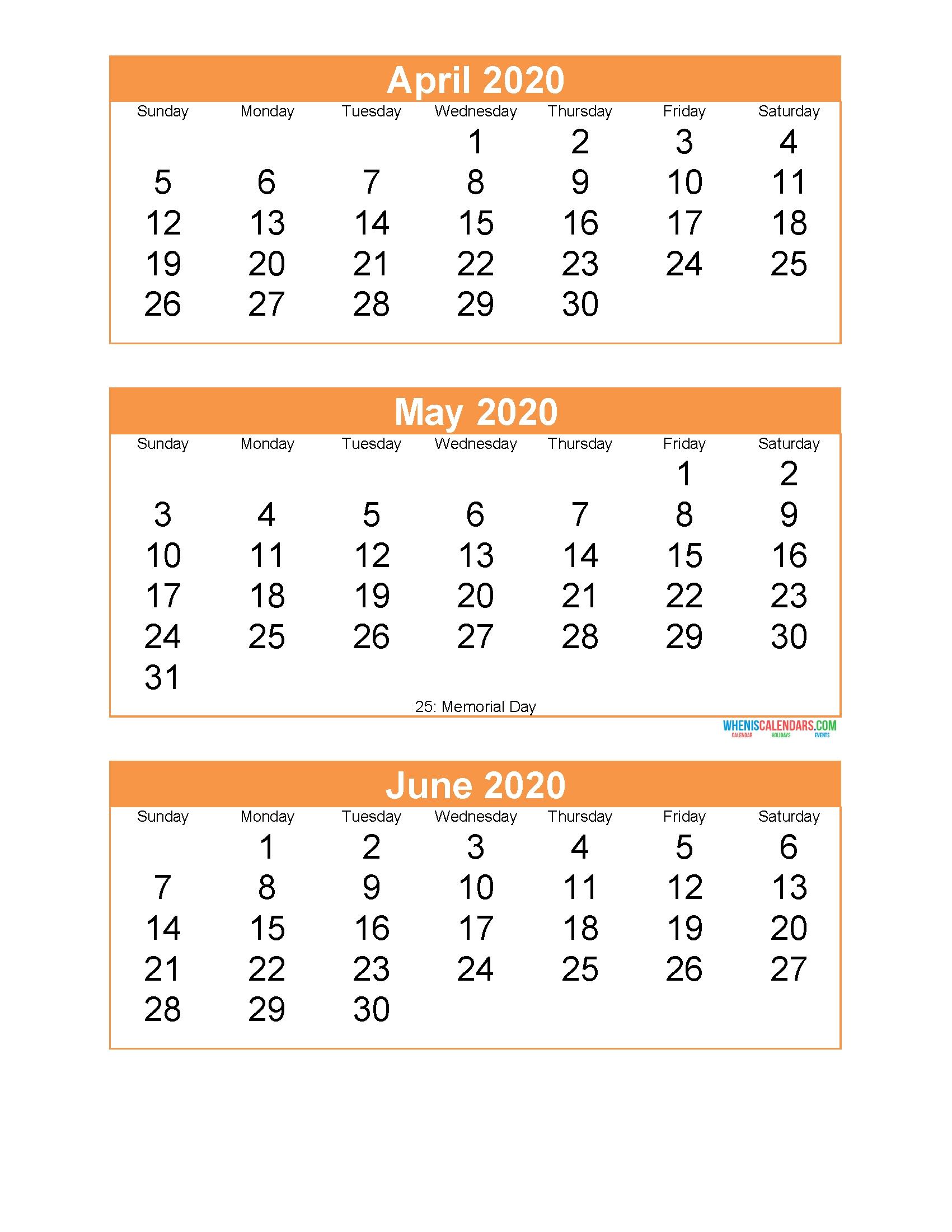 Free Printable 3 Month Calendar 2020 April May June | Free