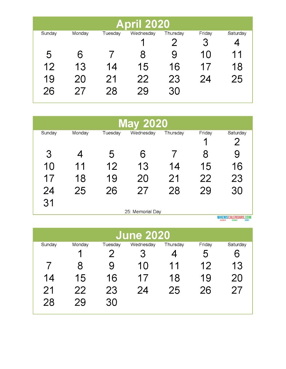 Free Printable 3 Month Calendar 2020 April May June