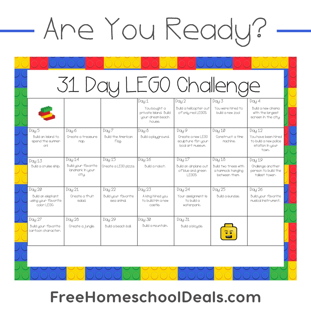 Free Printable 31-Day Lego Challenge (Instant Download!)