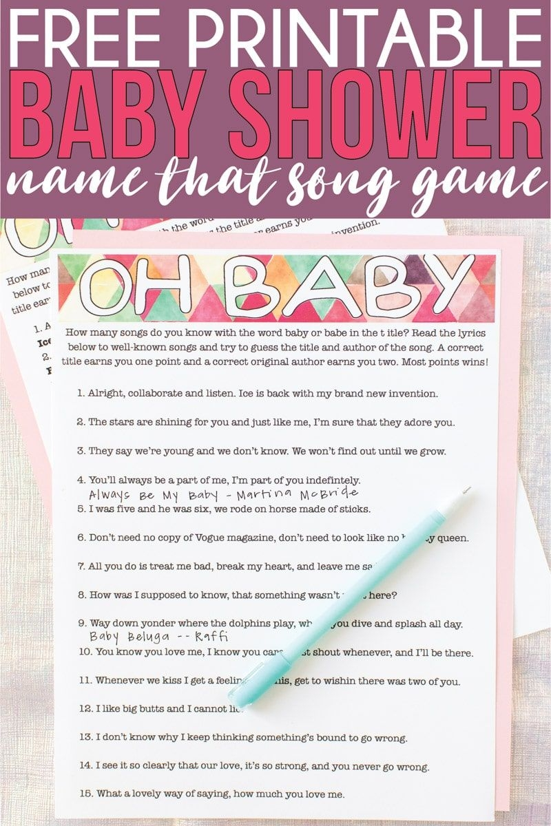 Free Printable Baby Shower Songs Guessing Game - Play Party Plan