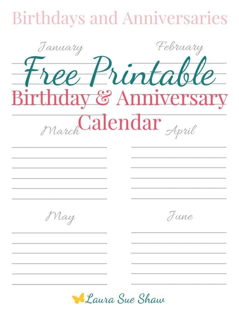Free Printable Birthday & Anniversary Calendar | Birthday