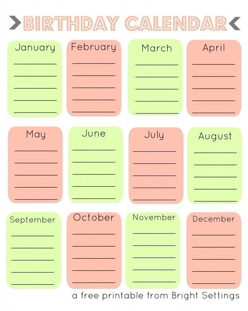 Free Printable Birthday Calendar | Birthday Calendar, Family
