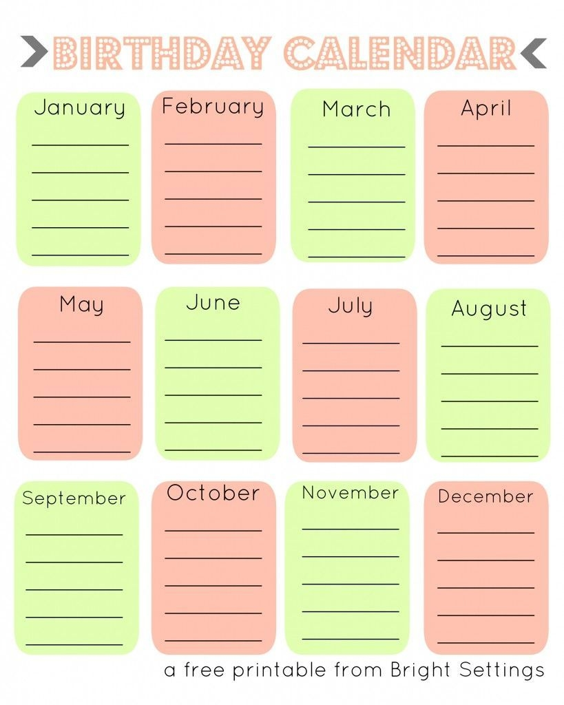 Free Printable Birthday Calendar (With Images) | Birthday