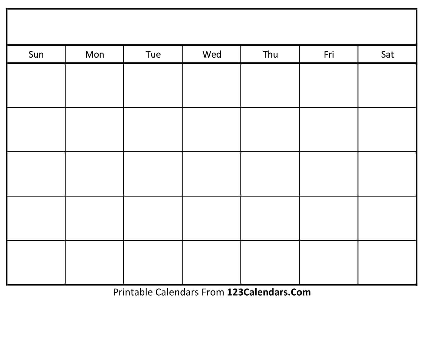 Free Printable Blank Calendar | 123Calendars