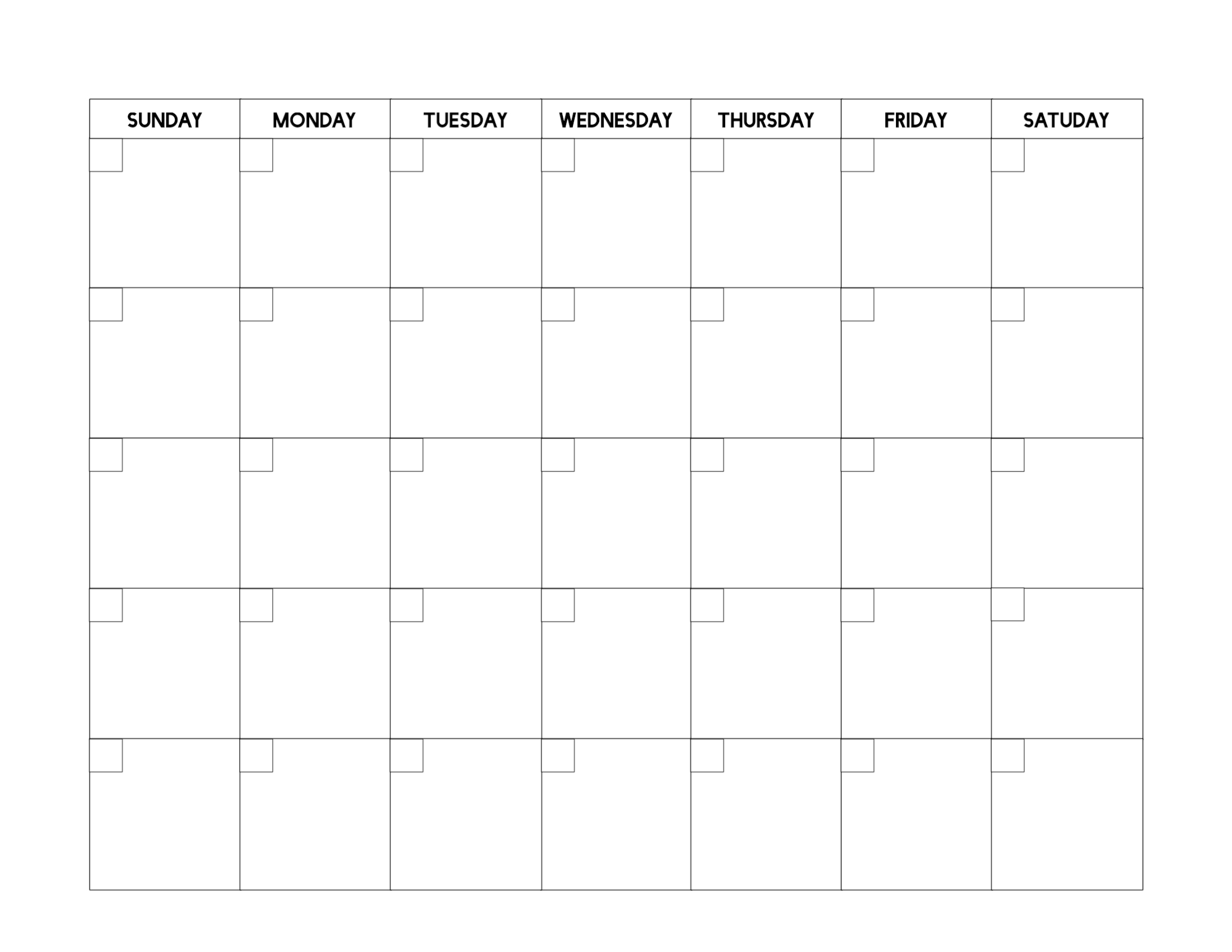 Free Printable Blank Calendar Template - Paper Trail Design