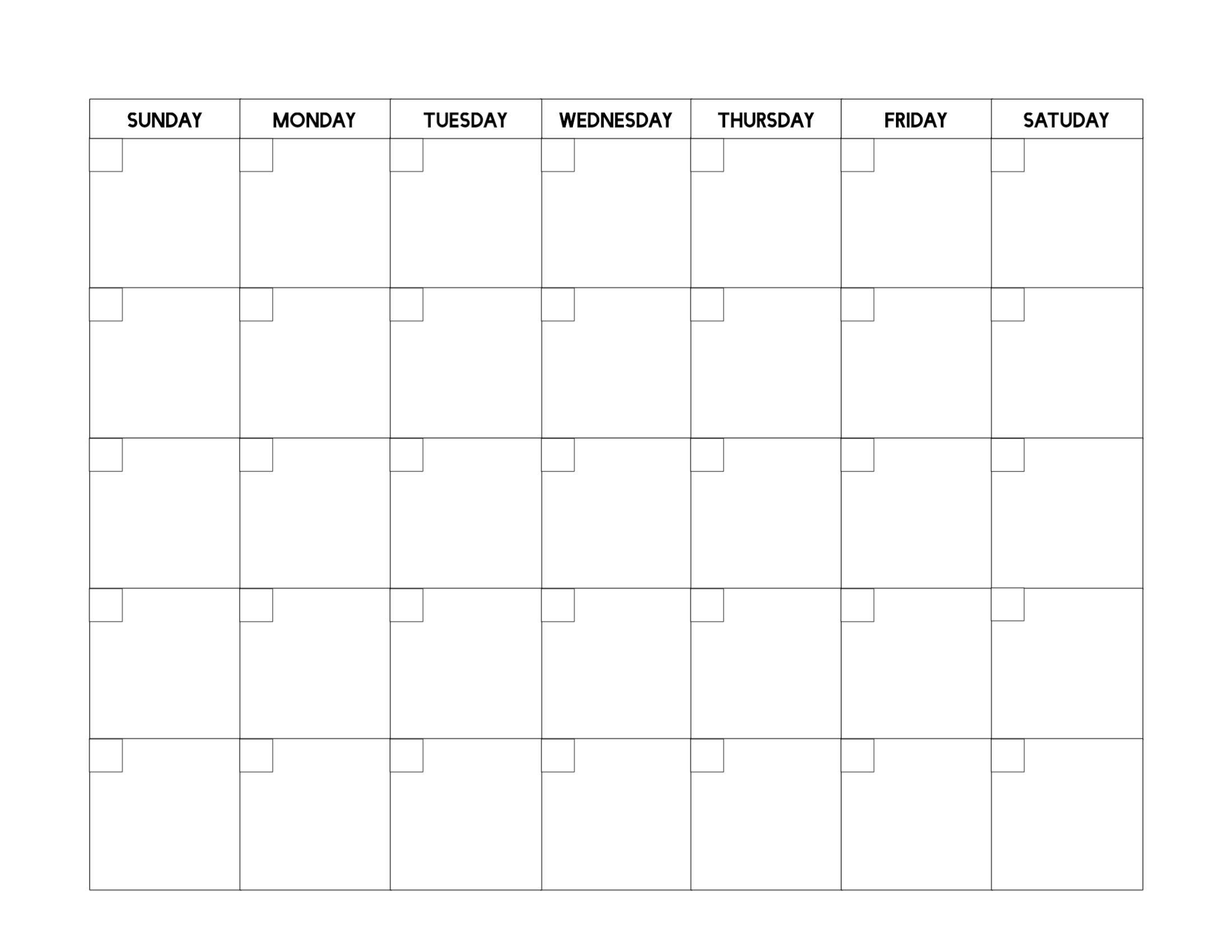 Free Printable Blank Calendar Template - Paper Trail Design