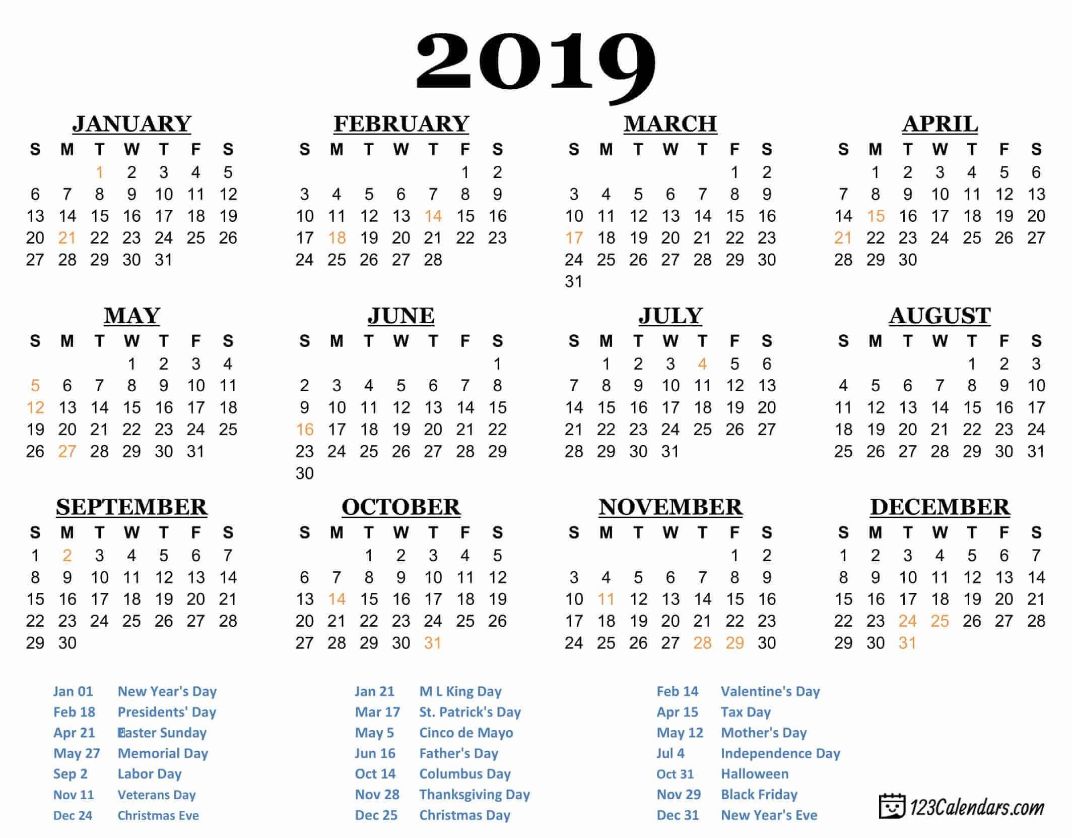 Free Printable Calendar 2019 In Pdf, Word, Excel | Printable