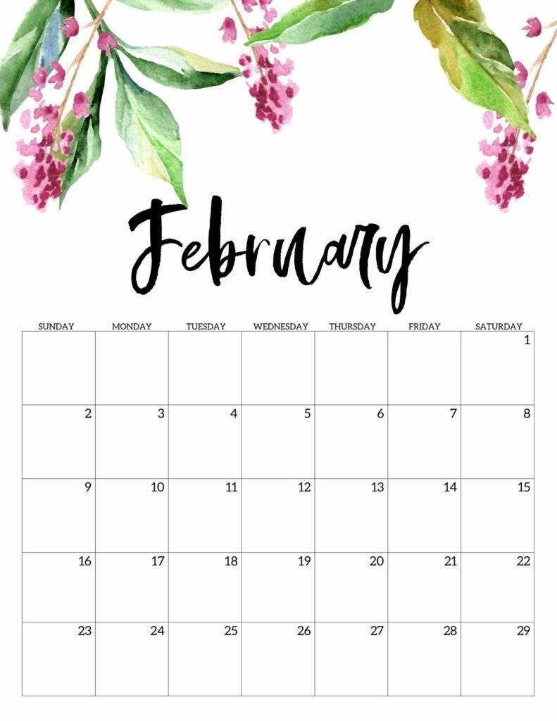 Free Printable Calendar 2020 - Floral In 2020 (With Images