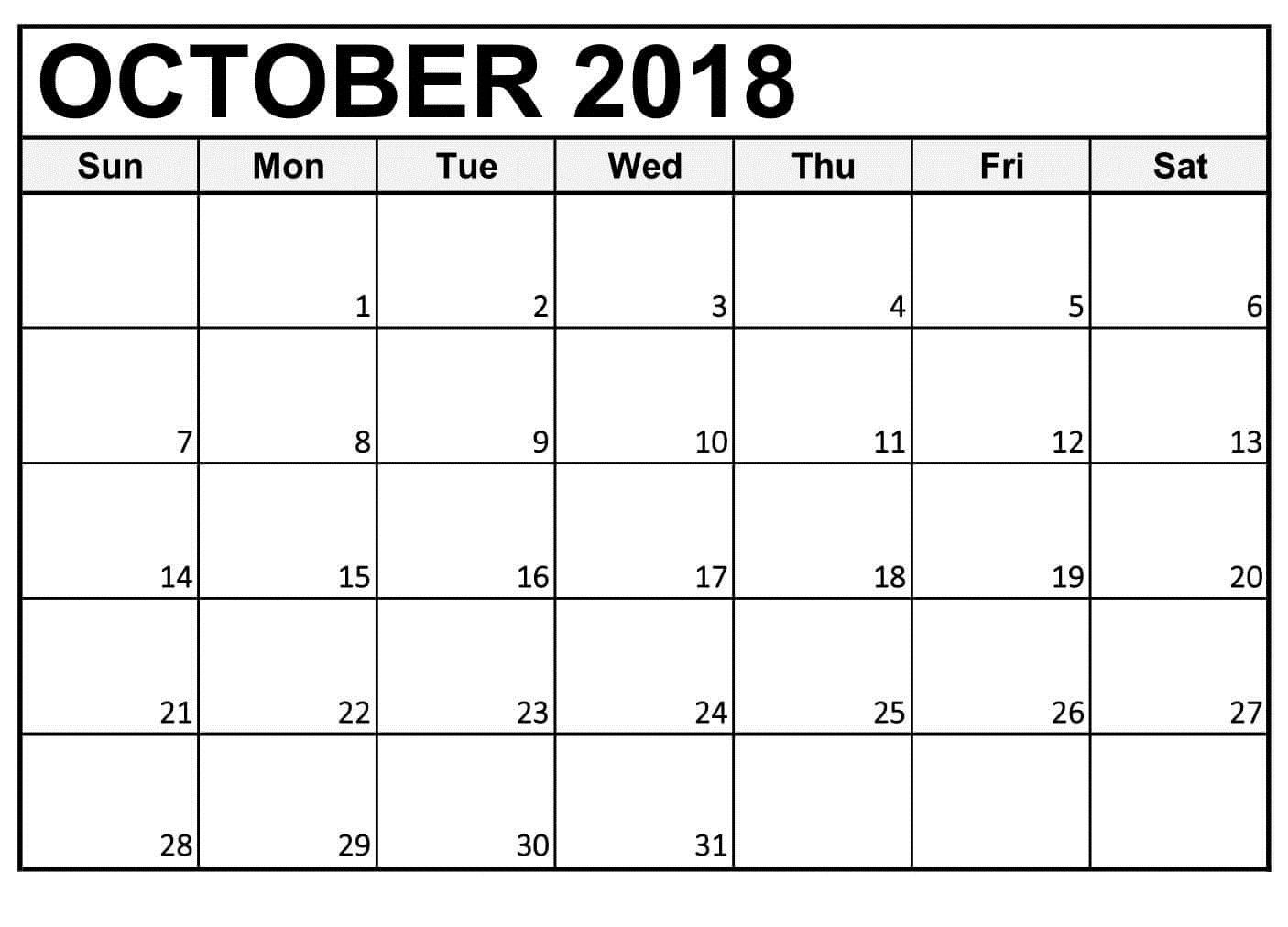 Free Printable Calendar October 2018 Daily Template (With