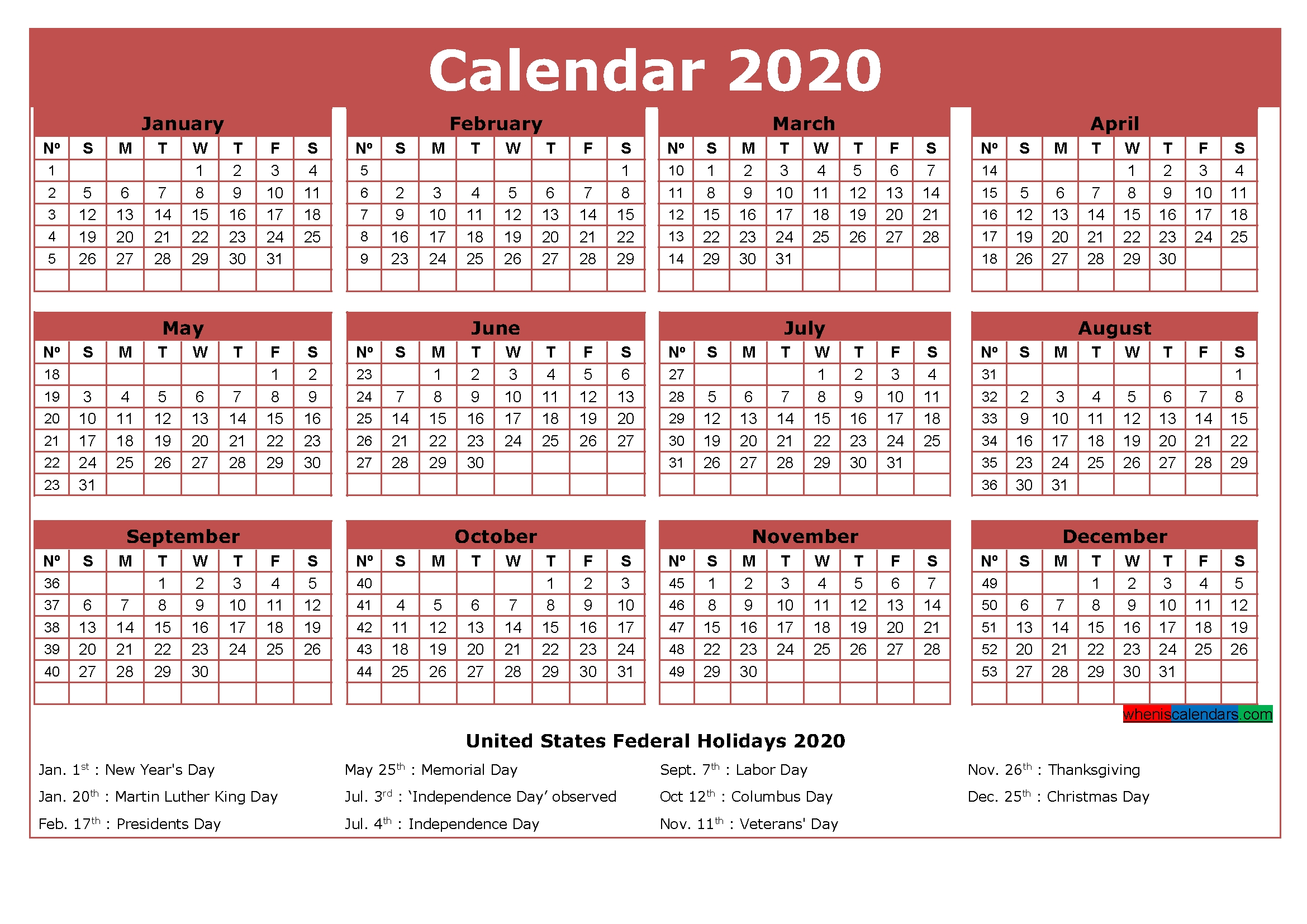 Free Printable Calendar With Holidays 2020 Word, Pdf | Free