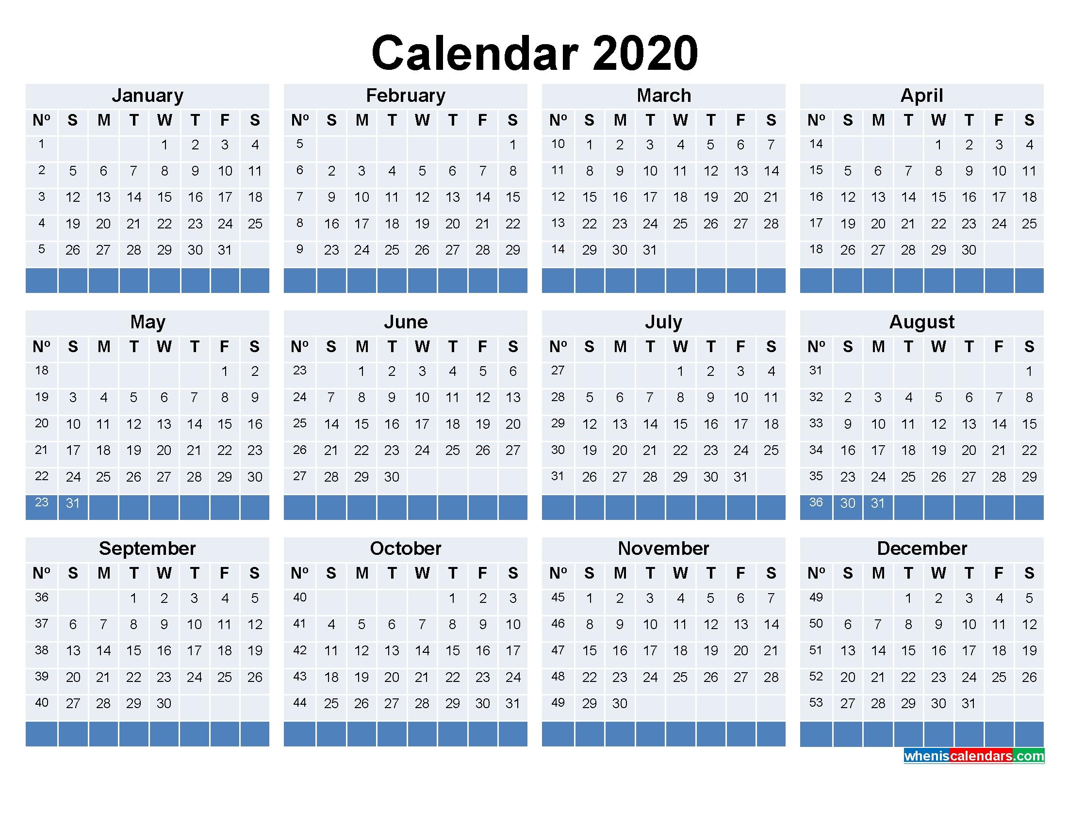 Free Printable Calendar With Week Numbers 2020   Free