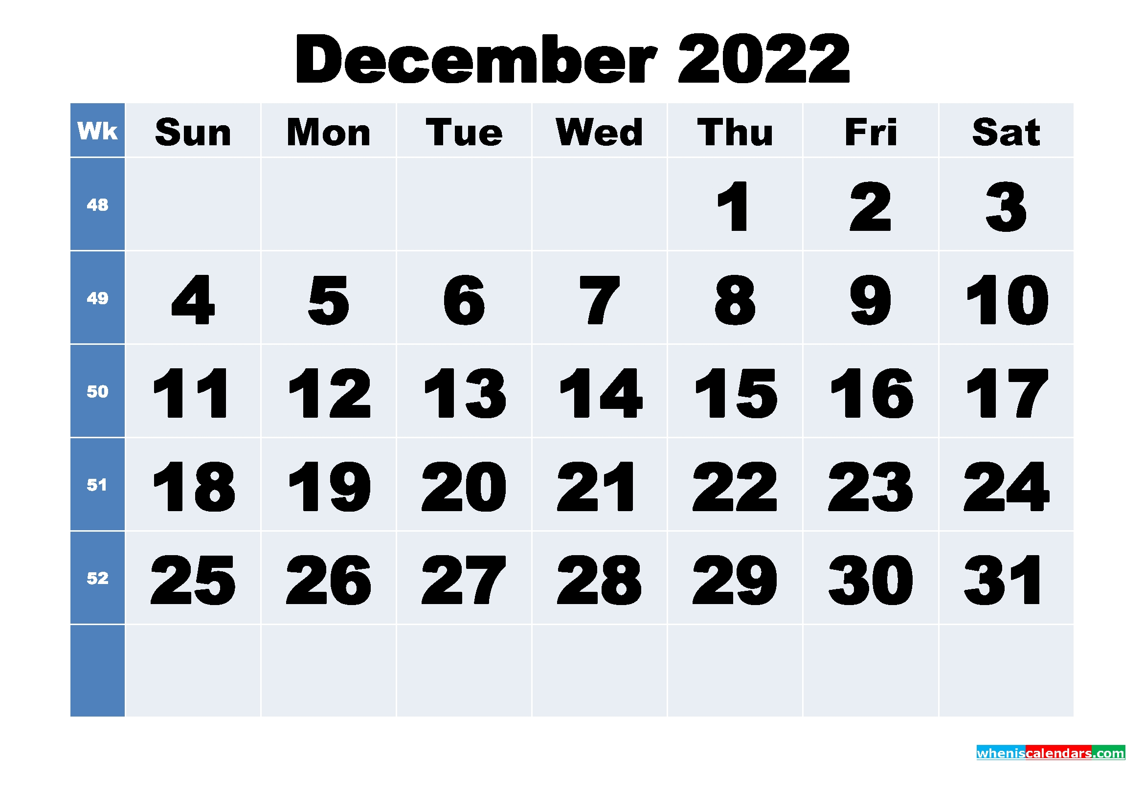 Free Printable December 2022 Calendar With Week Numbers