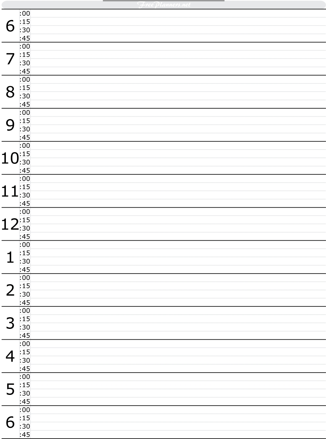 Free Printable Hourly Daily Planner   Free Daily Planner