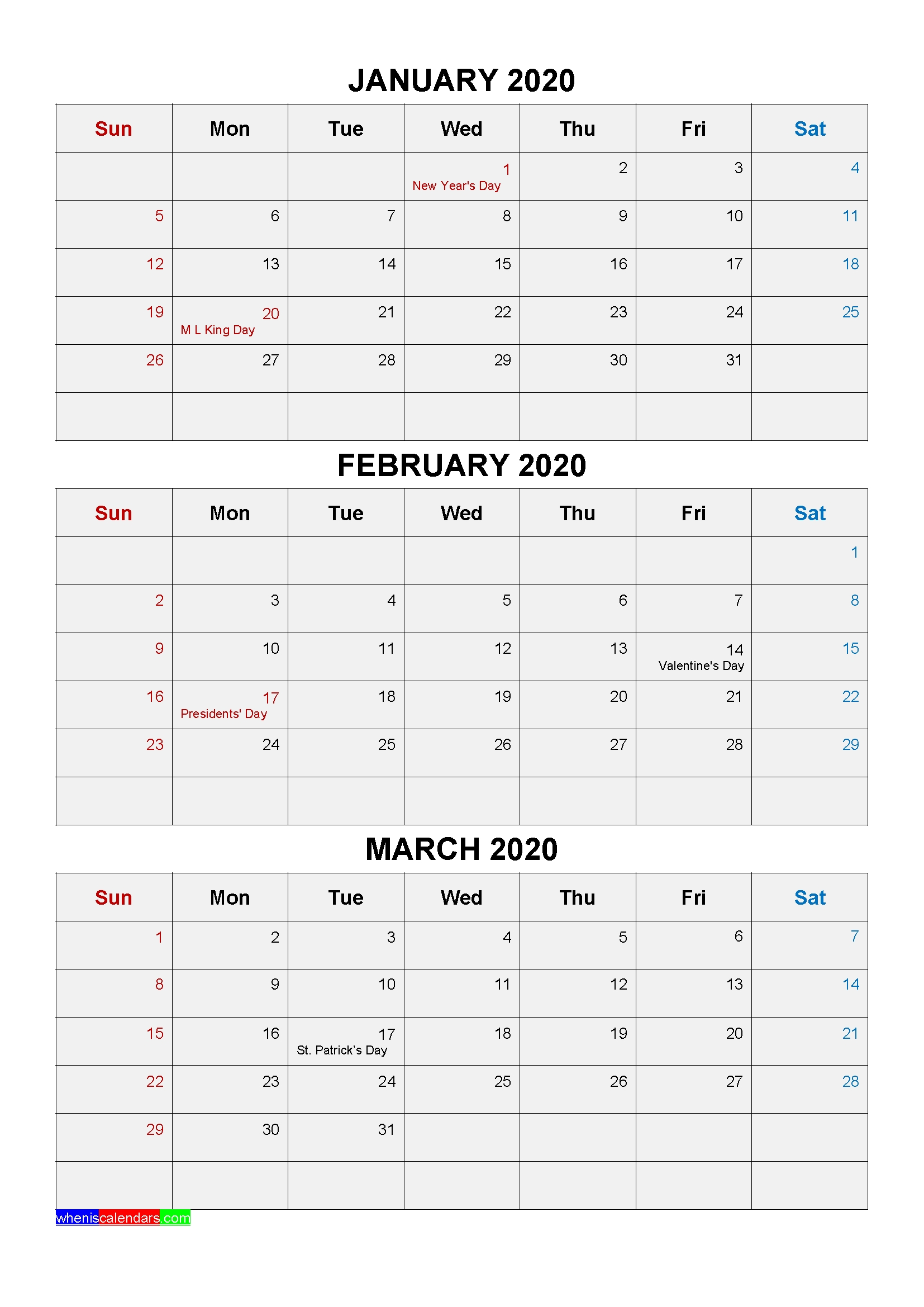 Free Printable January February March 2020 Calendar 3 Months