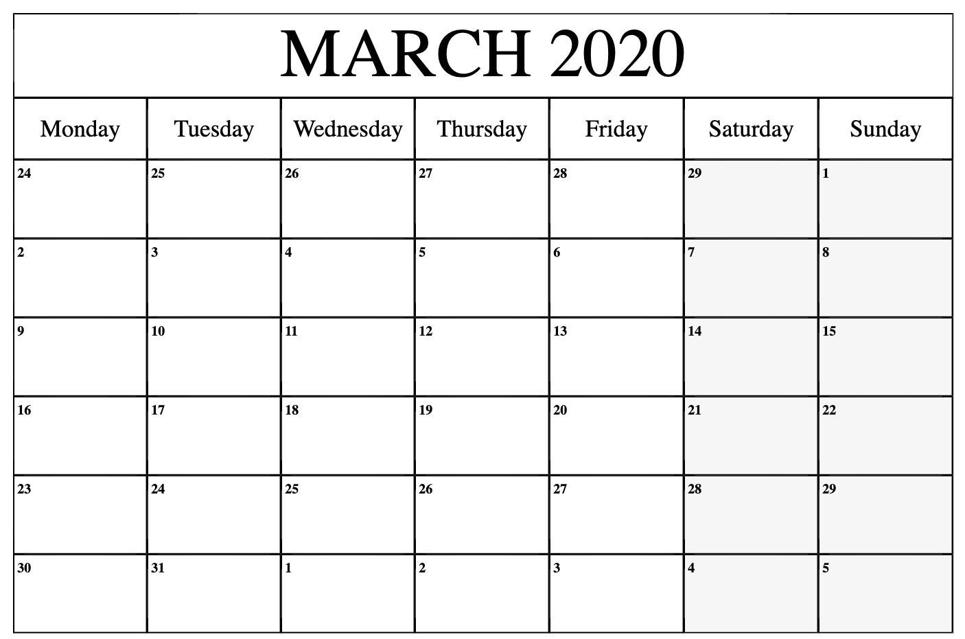 Free Printable March 2020 Calendar Pdf Word Excel Blank