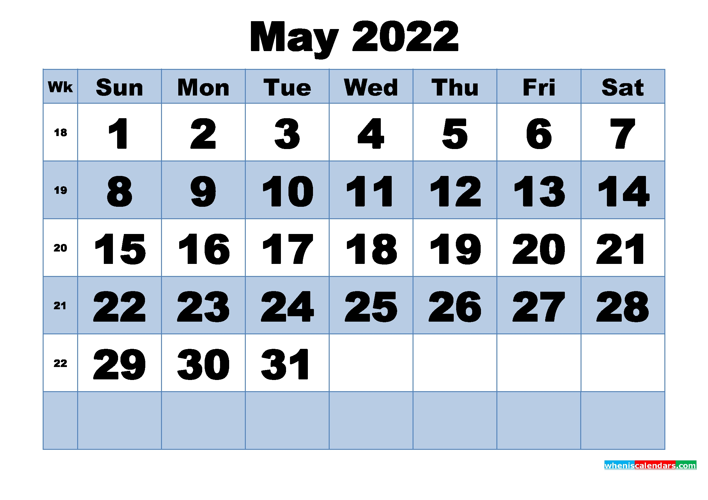 Free Printable May 2022 Calendar With Week Numbers | Free
