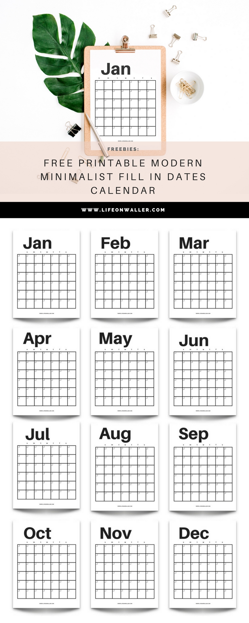 Free Printable Modern Minimalist Fill In Calendar - Use For