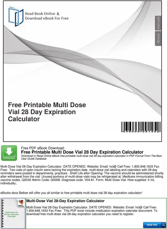 Free Printable Multi Dose Vial 28 Day Expiration Calculator