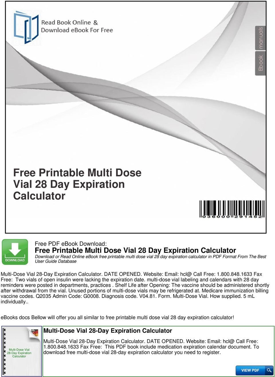 Free Printable Multi Dose Vial 28 Day Expiration Calculator