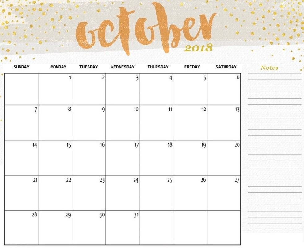 Free Printable October 2018 Calendar With Notes – Printable